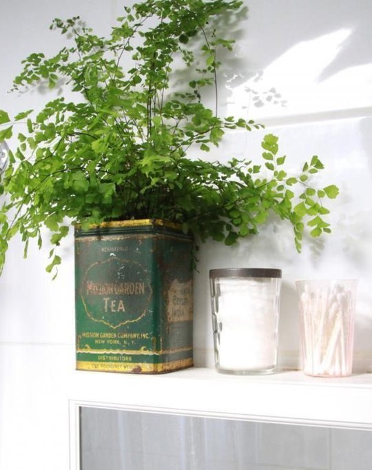 04 vintage tin bathroom planter
