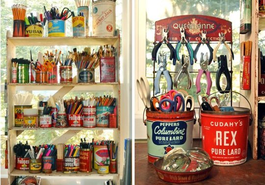 06 vintage tin craft room storage
